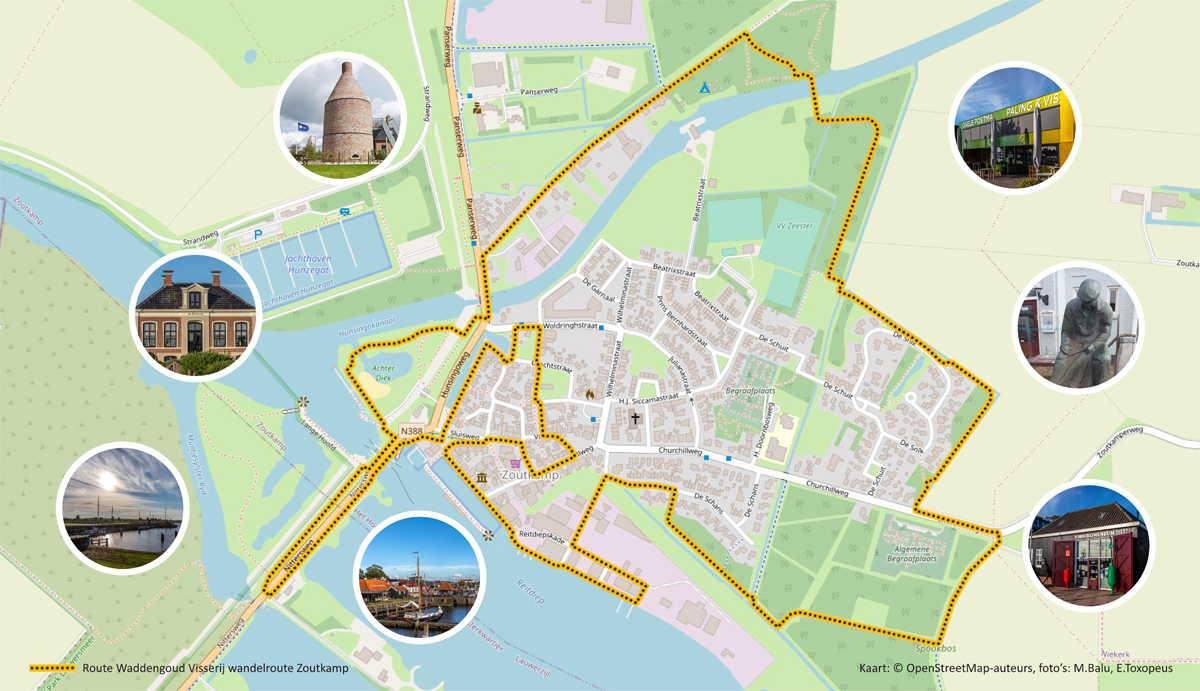 Routekaart visserij wandelroute Zoutkamp